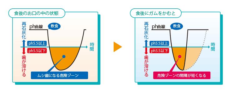 キシリトールガムのムシ歯予防効果グラフ